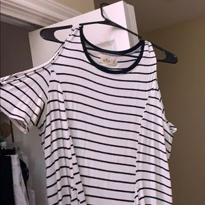 super cute hollister cold shoulder striped shirt!